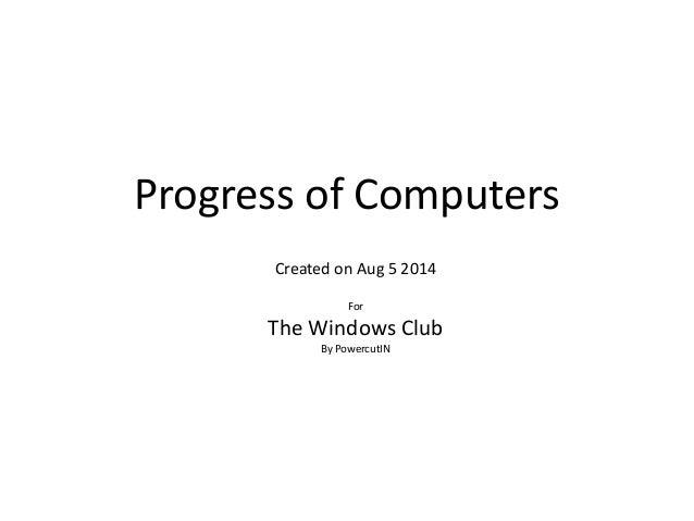 Progress of Computers