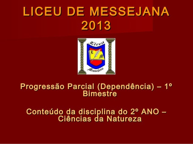LICEU DE MESSEJANALICEU DE MESSEJANA 20132013 Progressão Parcial (Dependência) – 1ºProgressão Parcial (Dependência) – 1º B...