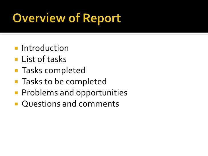 Progress report presentation