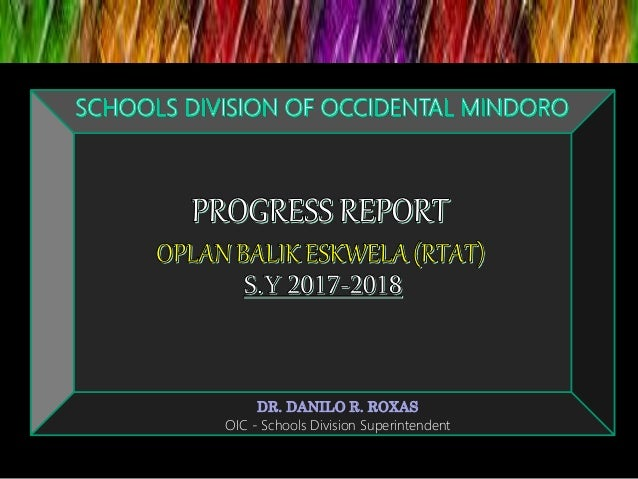 Progress report   Oplan Balik Eskwela Occidental Mindoro Slide 2