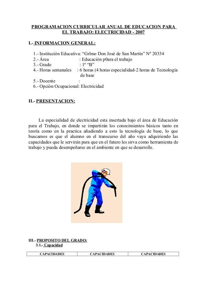 PROGRAMACION CURRICULAR ANUAL DE EDUCACION PARA          EL TRABAJO: ELECTRICIDAD - 2007I.- INFORMACION GENERAL:  1.- Inst...