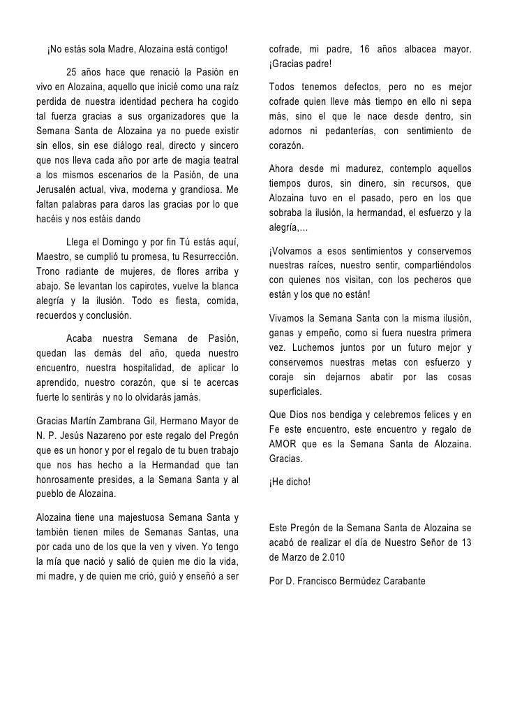 PROGRAMA DE SEMANA SANTA 2010 El Ayuntamiento de Alozaina, la Parroquia de Santa Ana y todas las Hermandades y Asociacione...