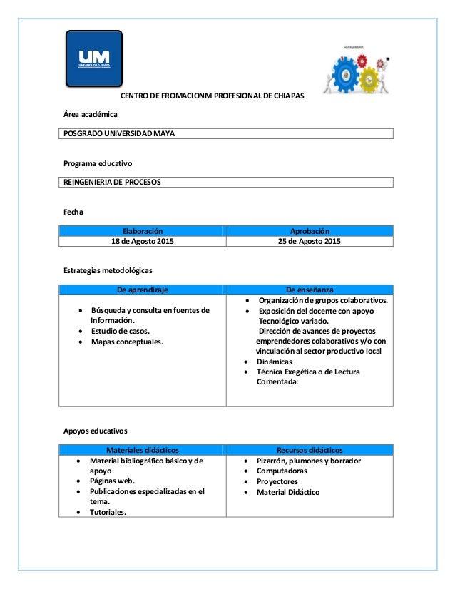 CENTRO DE FROMACIONM PROFESIONAL DE CHIAPAS Área académica POSGRADO UNIVERSIDAD MAYA Programa educativo REINGENIERIA DE PR...