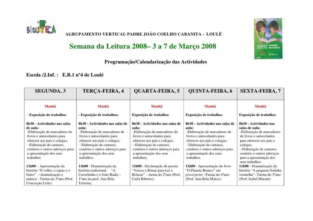 AGRUPAMENTO VERTICAL PADRE JOÃO COELHO CABANITA - LOULÉ                              Semana da Leitura 2008– 3 a 7 de Març...
