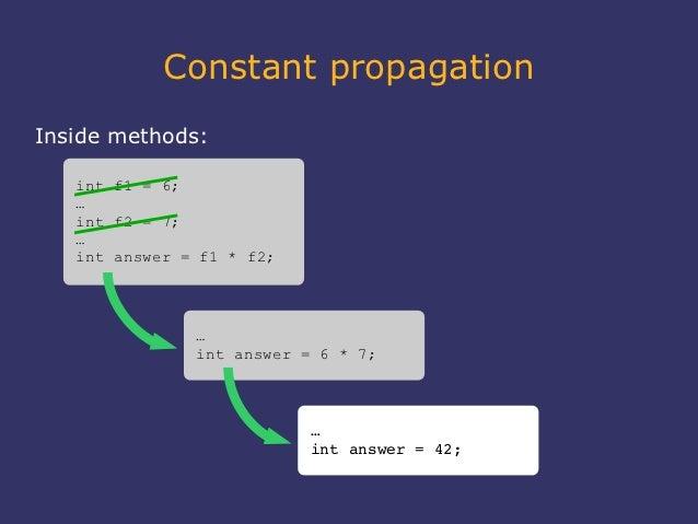 Constant propagationInside methods:   int f1 = 6;   …   int f2 = 7;   …   int answer = f1 * f2;               …           ...