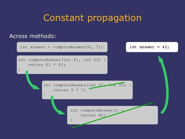 Constant propagationAcross methods:   int answer = computeAnswer(6, 7);          intanswer=42;  int computeAnswer(int f...