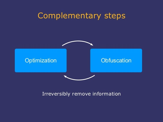 Complementary stepsOptimization                 Obfuscation      Irreversibly remove information