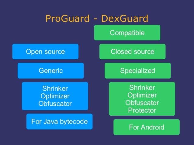 ProGuard - DexGuard                     CompatibleOpen source          Closed source   Generic             Specialized    ...