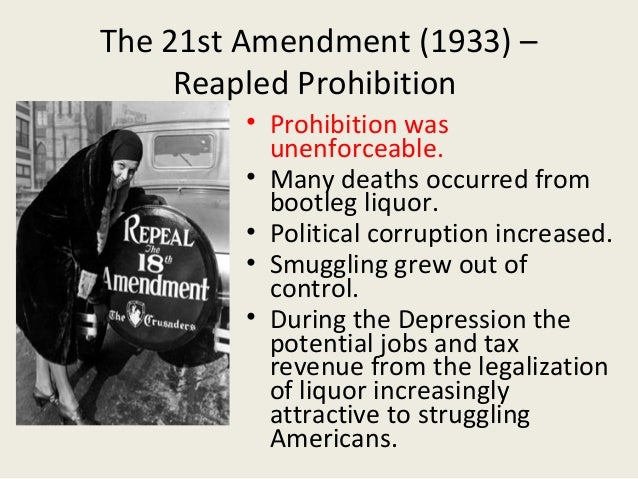 why prohibition failed to control american The prohibition amendment - the prohibition amendment, which took effect on january 16, 1920, outlawed the manufacture, sale, and transportation of alcohol in the united states and its territories, until its repeal on december 5, 1933.