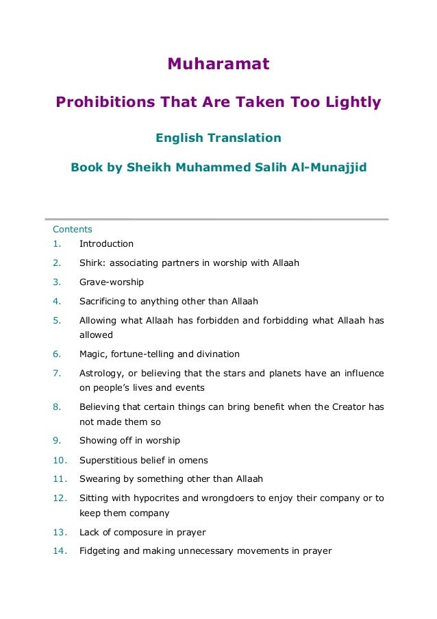 MuharamatProhibitions That Are Taken Too LightlyEnglish TranslationBook by Sheikh Muhammed Salih Al-MunajjidContents1. Int...