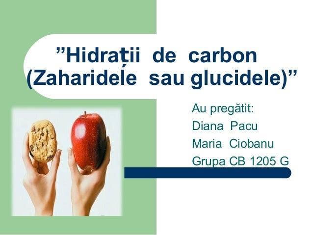 """""""Hidrații de carbon (Zaharidele sau glucidele)"""" Au pregătit: Diana Pacu Maria Ciobanu Grupa CB 1205 G"""