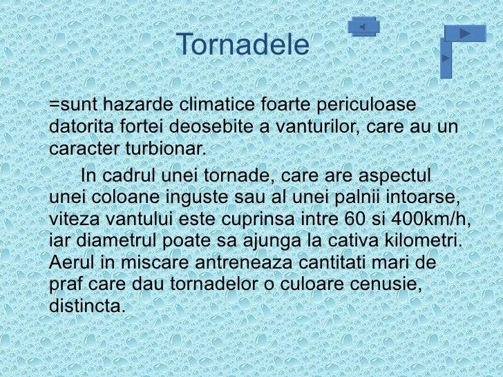 Tornadele  <ul><li>=sunt hazarde climatice foarte periculoase datorita fortei deosebite a vanturilor, care au un caracter ...