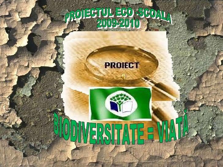 PROIECTUL ECO -SCOALA 2009-2010 BIODIVERSITATE = VIATĂ