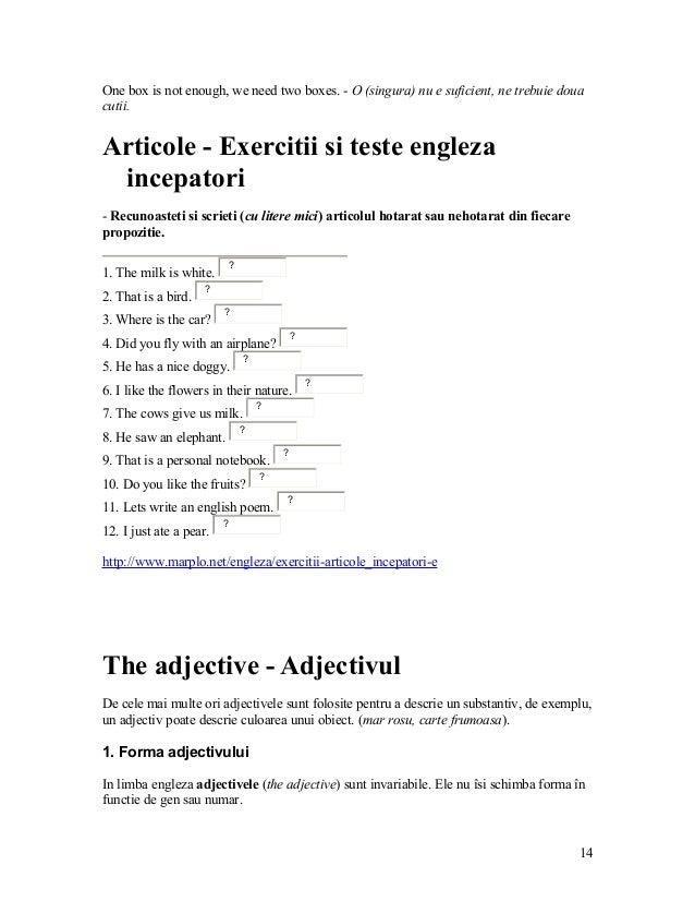 gramatica limbii engleze inclusiv exercitii