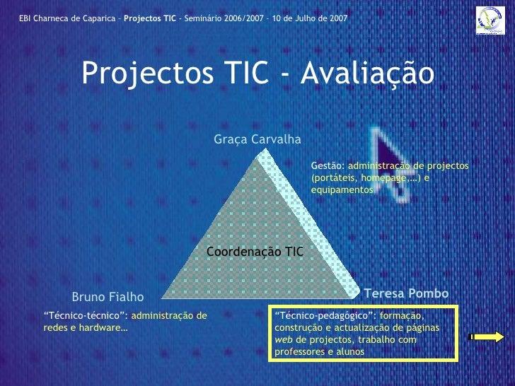 Projectos TIC - Avaliação Coordenação TIC EBI Charneca de Caparica –  Projectos TIC  - Seminário 2006/2007 – 10 de Julho d...