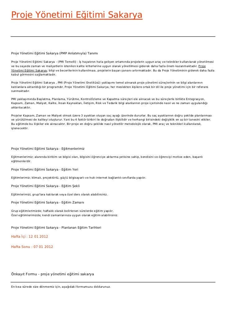 Proje Yönetimi Eğitimi SakaryaProje Yönetimi Eğitimi Sakarya (PMP Anlatımıyla) TanımıProje Yönetimi Eğitimi Sakarya - (PMI...
