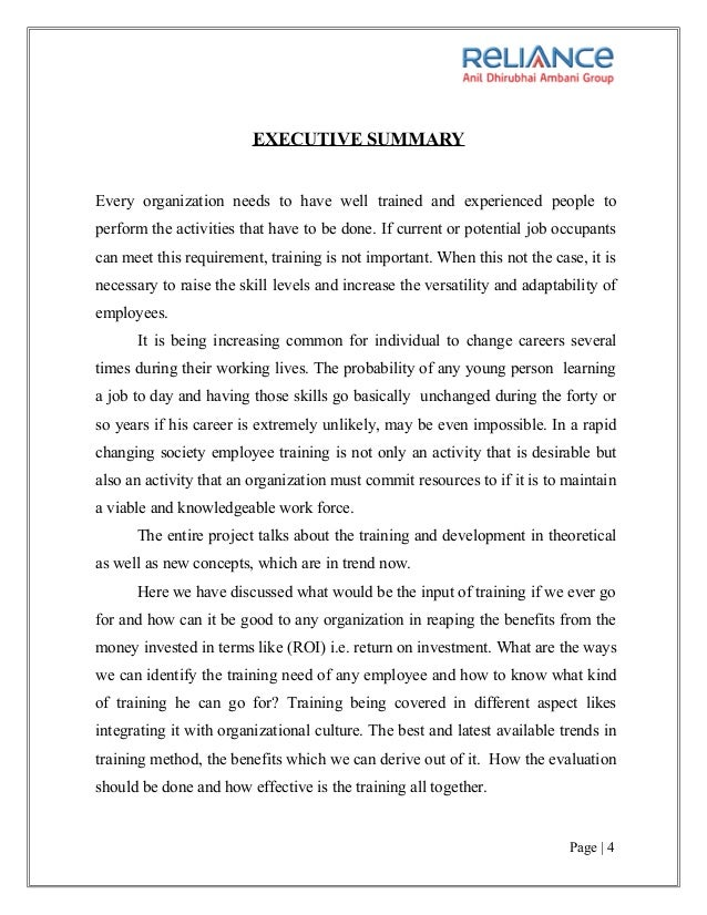 Projec Report On Training And Development Project From Reliance Money