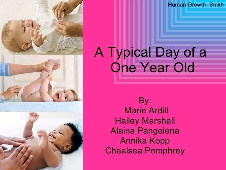 A Typical Day of a  One Year Old By: Marie Ardill Hailey Marshall Alaina Pangelena Annika Kopp Chealsea Pomphrey Human Gro...