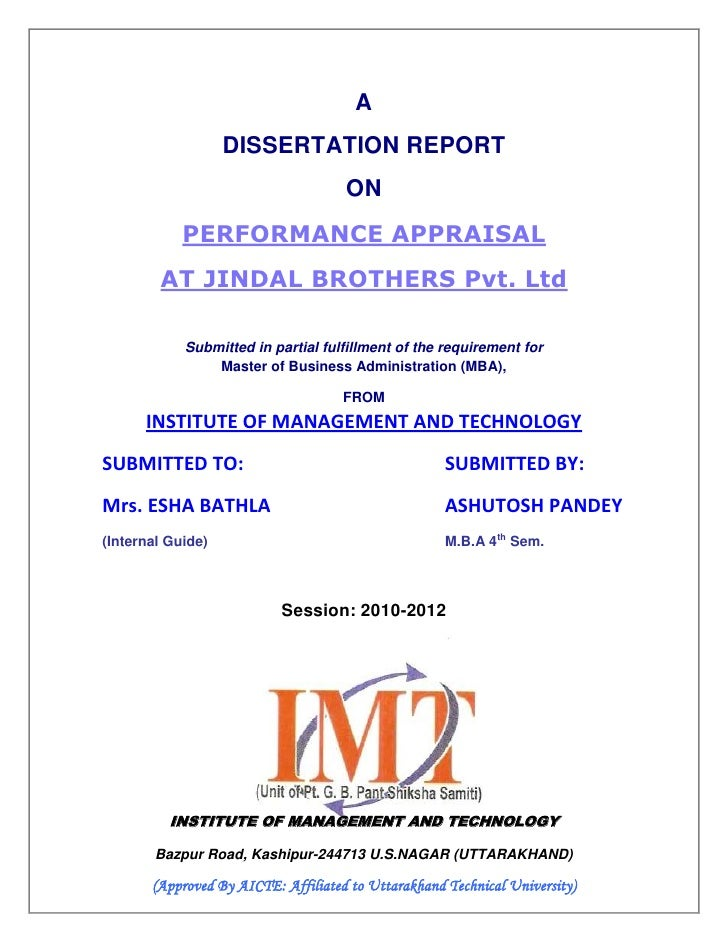 A                   DISSERTATION REPORT                                     ON            PERFORMANCE APPRAISAL        AT ...
