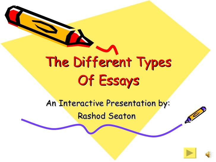 Examples Of Satire Essays The Different Types Of Essays An Interactive Presentation By Rashod Seaton   Determination Essays also Time Travel Essays Different Types Of Essays My Educational Philosophy Essay