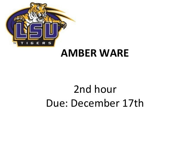 AMBER WARE     2nd hourDue: December 17th