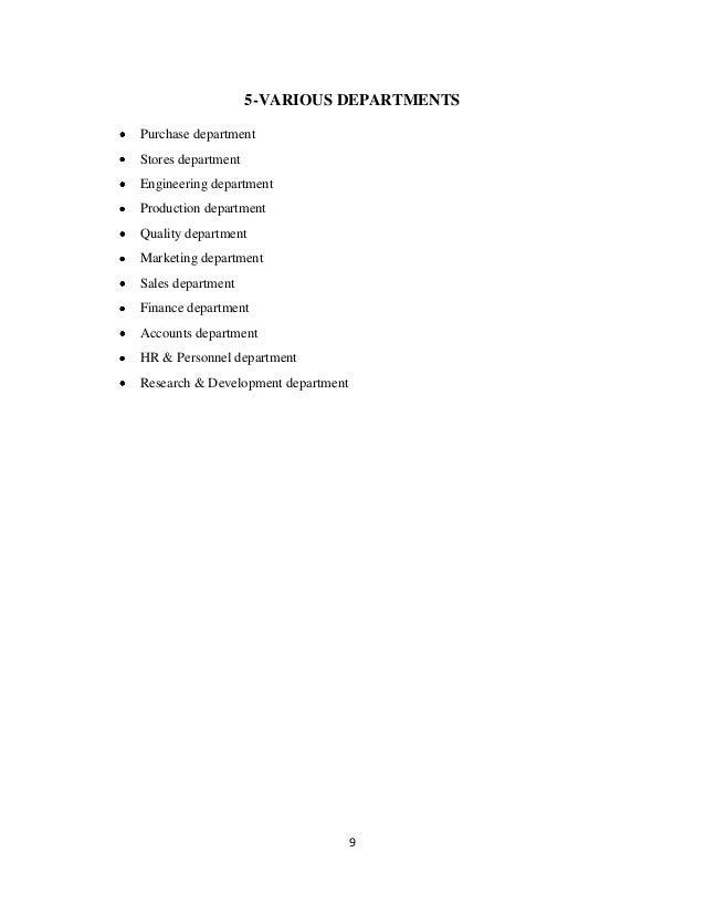 5-VARIOUS DEPARTMENTSPurchase departmentStores departmentEngineering departmentProduction departmentQuality departmentMark...