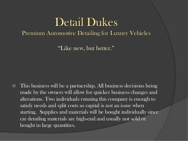 Business Plan Automotive Detailing