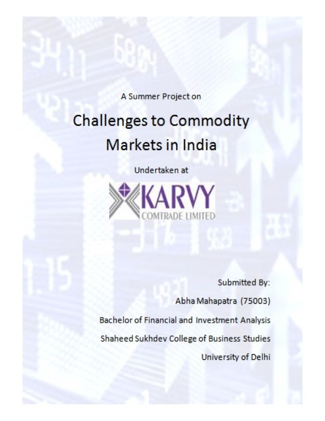 Project on challenges to commodity markets