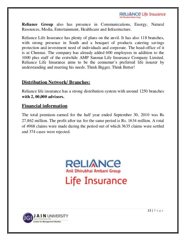 "reliance life insurance project A project on customer satisfaction for reliance life insurance and channel management of insurance industry"" with reference to icici prudential life insurance co ltd rajkot a project."