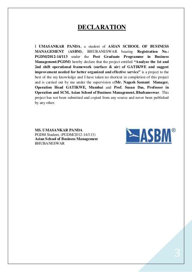 thesis declaration format