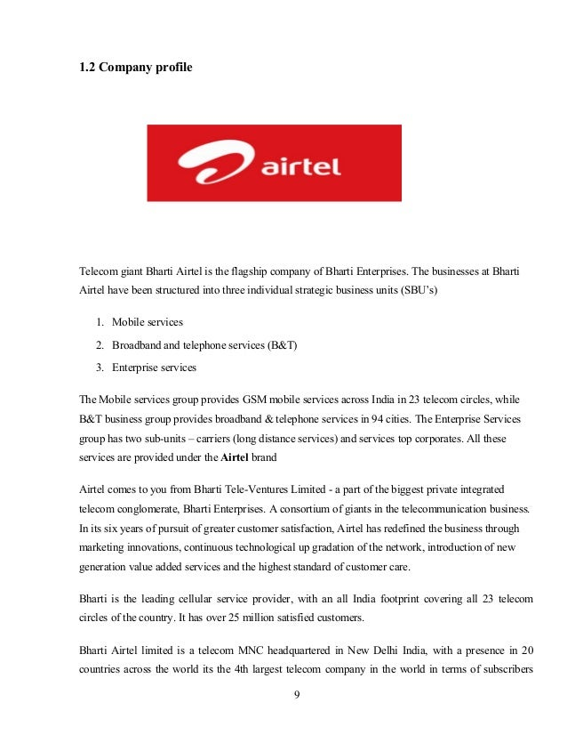 STUDY OF CUSTOMER PREFERENCE TOWARDS AIRTEL