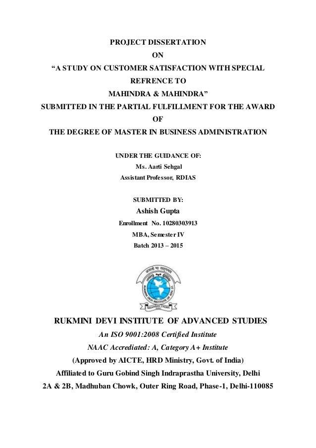 customer satisfaction pdf thesis