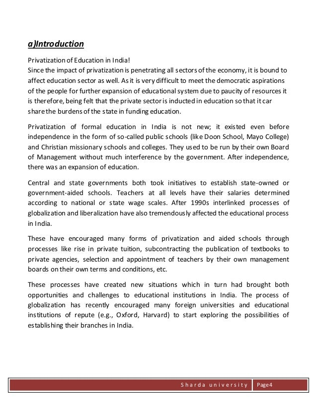 privatisation education essay Speaking of the benefits the government gains:1 the government can reduce the state spending on providing the public education2.