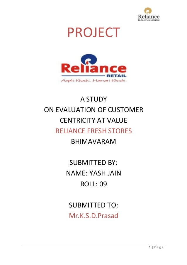 a study on reliance fresh Exposure visit at reliance fresh on 30th october, 2015 students from the step  center integrated rural development organization went for the exposure visit.