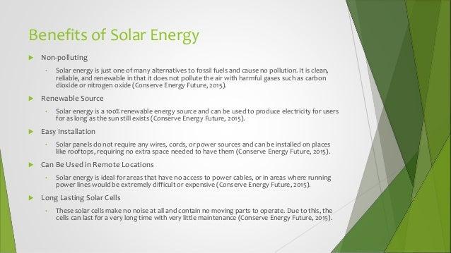 Benefits solar panels essay