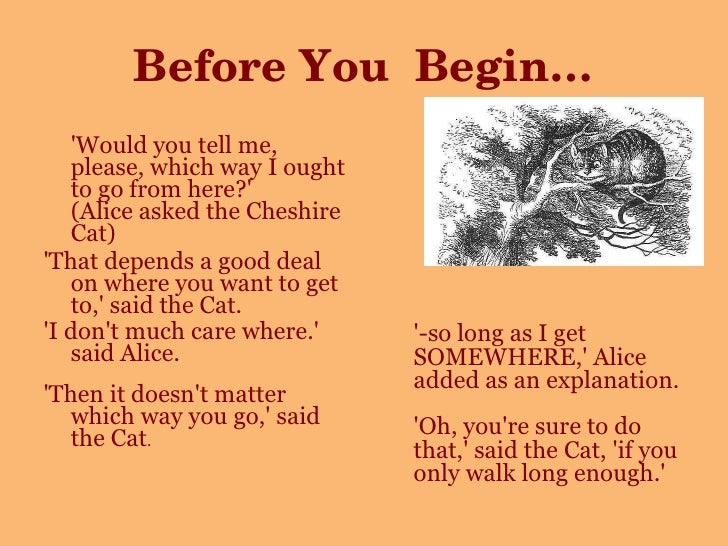 Before You  Begin… <ul><li>'Would you tell me, please, which way I ought to go from here?' (Alice asked the Cheshire Cat) ...