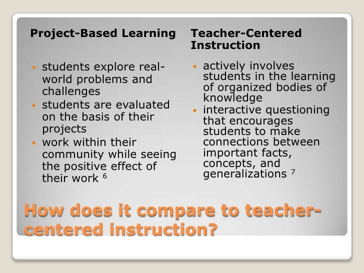 How does it compare to teacher-centered instruction?<br />Project-Based Learning<br />Teacher-Centered Instruction<br />s...