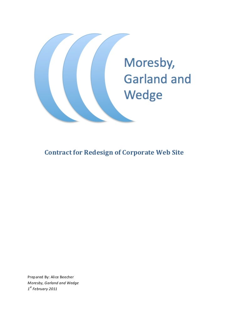 Contract for Redesign of Corporate Web Site             Prepared...
