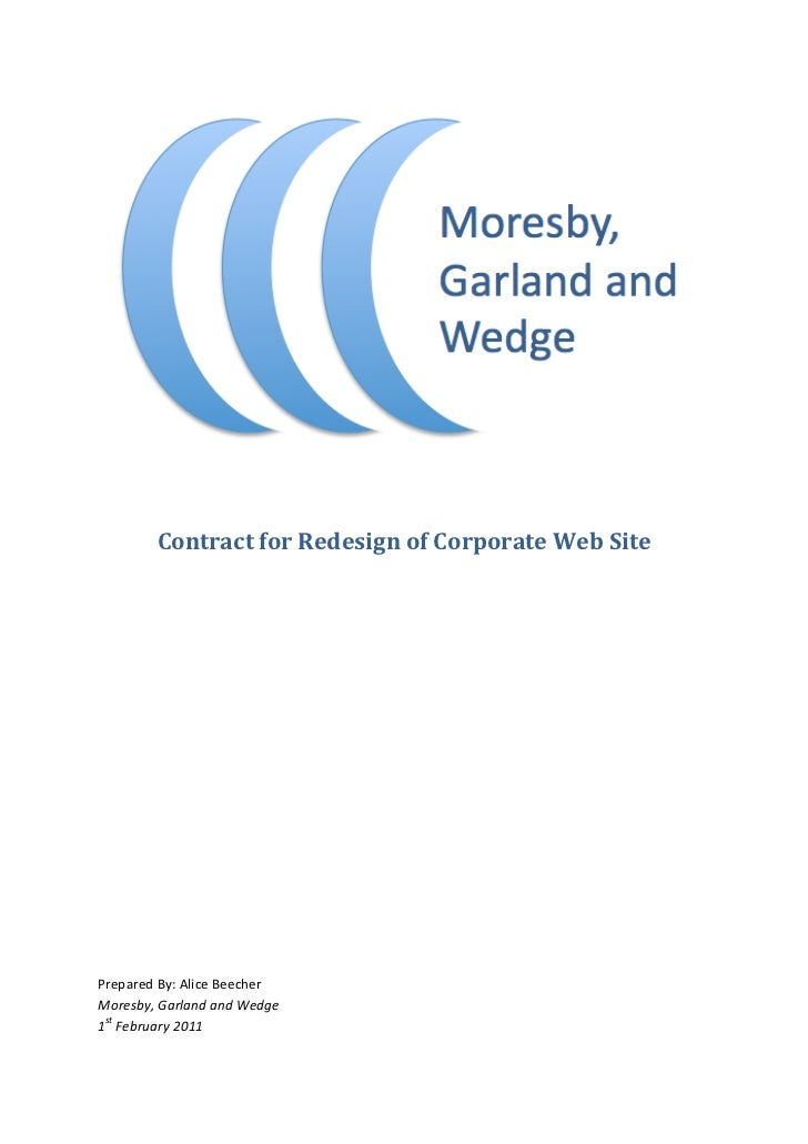 Contract	  for	  Redesign	  of	  Corporate	  Web	  Site	  	  	  	  	  	  	  	  	  	  	  	  	  Prepared	...