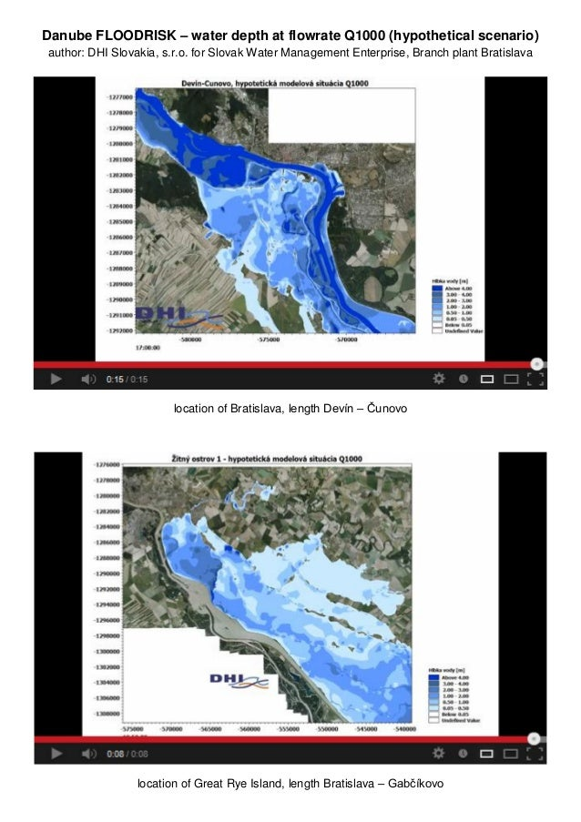 Danube FLOODRISK – water depth at flowrate Q1000 (hypothetical scenario)author: DHI Slovakia, s.r.o. for Slovak Water Mana...