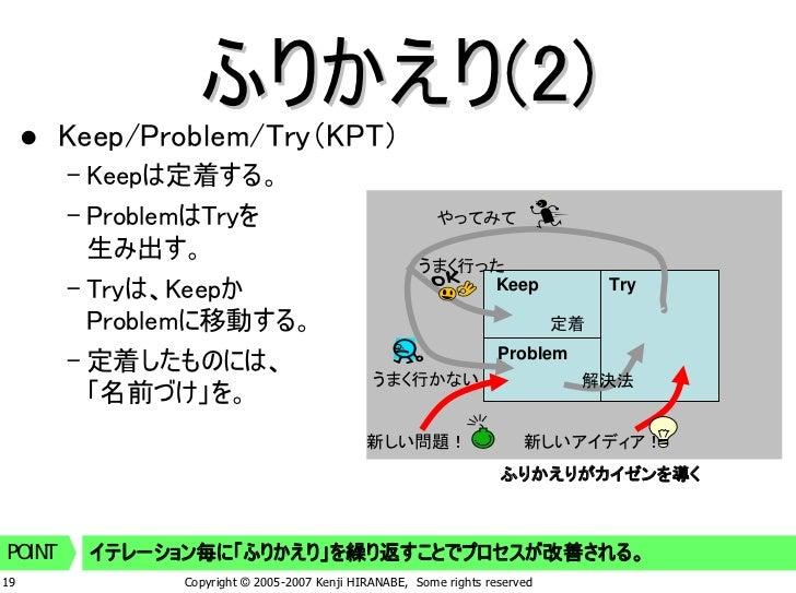 ふりかえり(2)         Keep/Problem/Try(KPT)         – Keepは定着する。         – ProblemはTryを                                   やってみて...