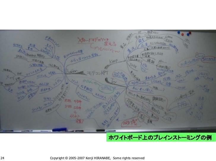 ホワイトボード上のブレインストーミングの例   24   Copyright © 2005-2007 Kenji HIRANABE, Some rights reserved