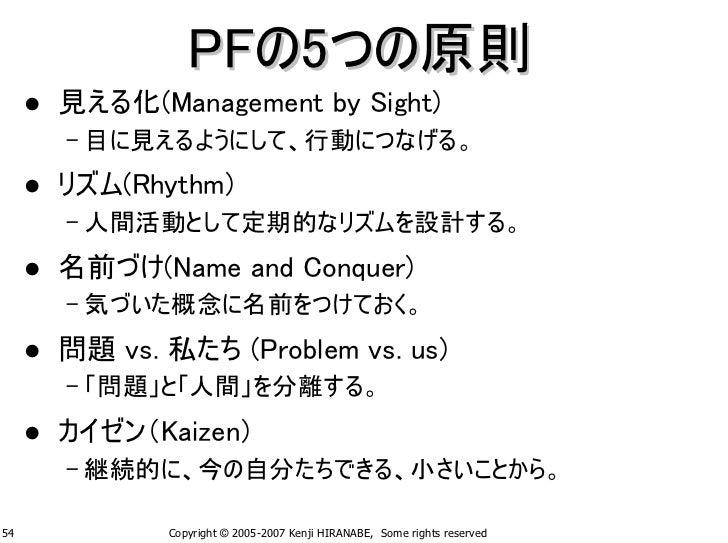 PFの5つの原則      見える化(Management by Sight)      – 目に見えるようにして、行動につなげる。      リズム(Rhythm)      – 人間活動として定期的なリズムを設計する。      名前づけ(...
