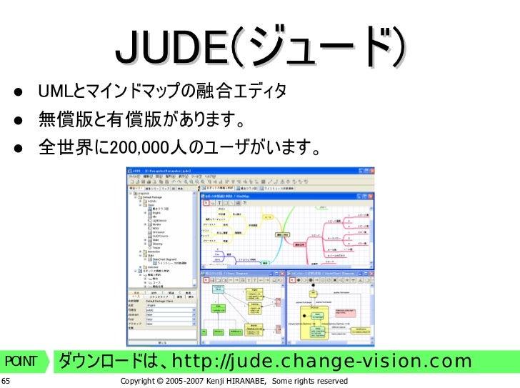 JUDE(ジュード)         UMLとマインドマップの融合エディタ         無償版と有償版があります。         全世界に200,000人のユーザがいます。              ダウンロードは、http://jude...