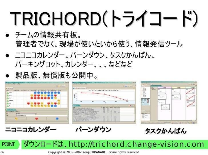 TRICHORD(トライコード)         チームの情報共有板。         管理者でなく、現場が使いたいから使う、情報発信ツール         ニコニコカレンダー、バーンダウン、タスクかんばん、         パーキングロット、...