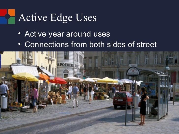 Active Edge Uses  <ul><li>Active year around uses </li></ul><ul><li>Connections from both sides of street </li></ul>