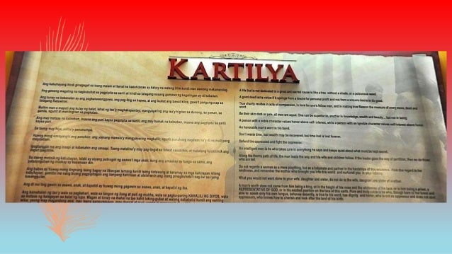 Below is a translated version of the rules on Kartilya 1. The life that is not consecrated to a lofty and reasonable purpo...