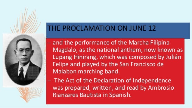 THE PROCLAMATION ON JUNE 12 – ended when Emilio Aguinaldo was captured by U.S. forces, and issued a statement acknowledgin...