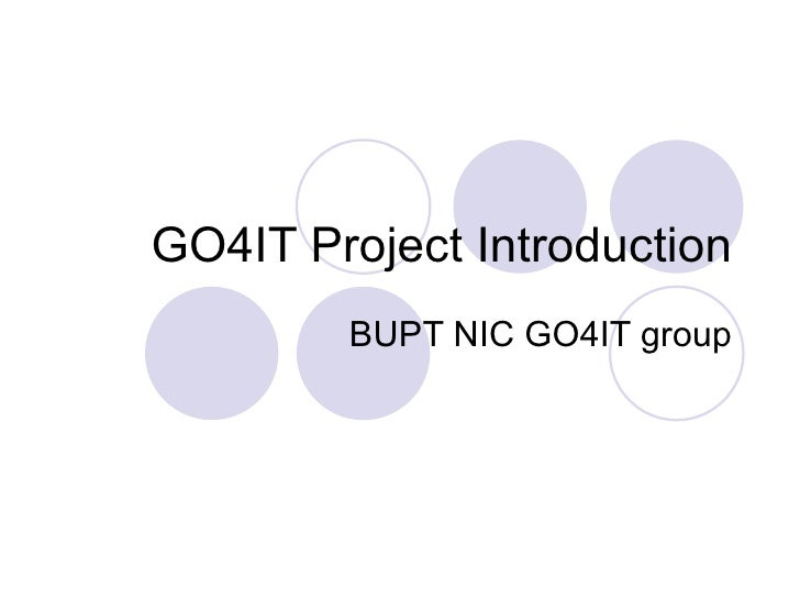 GO4IT Project Introduction BUPT NIC GO4IT group