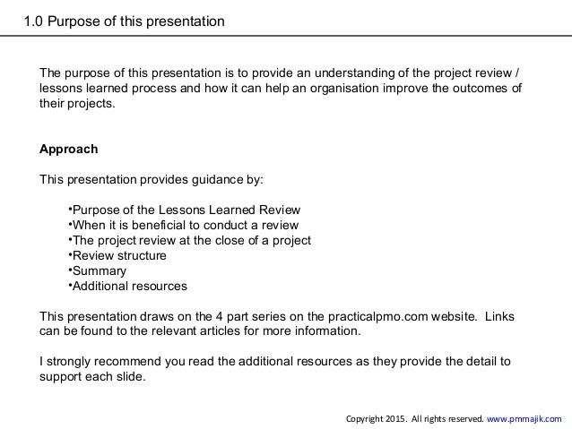 How to conduct a project lessons learned review